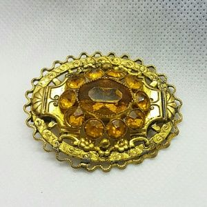 Vintage Art Deco style brooch with citrine stones